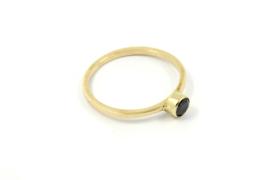Galerie Puur - 14k geel gouden ring met zwarte diamant - 11409