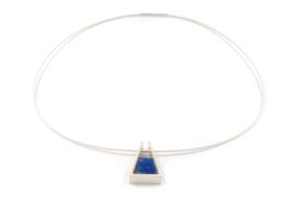 Evelien Scharphorn - Zilveren hanger met blauw gekleurd titanium - ES1059