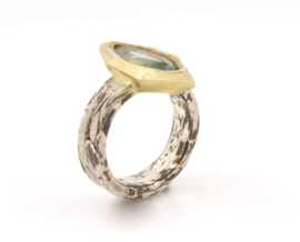 Hans van der Leen - Ring zilver en goud met groene beryl - HLR3015