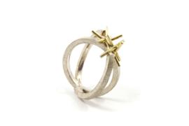 Dorien de Jonge - Zilveren 2 banden ring met gouden takjes - 2R02