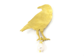 Susanne Bagaya - Broche vogel messing met parel - 10189