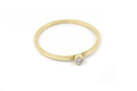 Galerie Puur - 14k geel gouden ring met diamantje - 11410