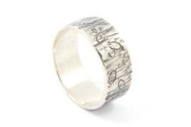 Galerie Puur - Ring met gezwart zilver en patroon - 10206
