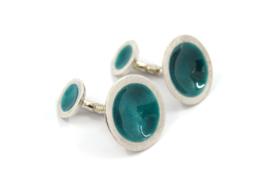 Anna - Manchetknopen zilver met turquoise emaille - 11140
