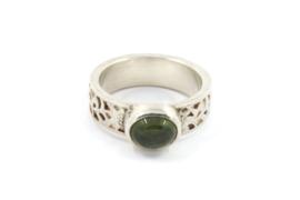 Myjung Kim - Zilveren ring met versiering en toermalijn - 10144