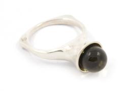 Hans van der Leen - Zilveren ring met rookkwarts - 10945 HLR166