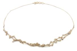 Hester Zagt - Geknoopt beige collier met parels - 11200