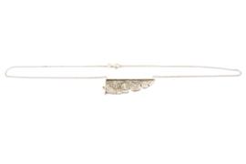 Lesley Zijlstra - Collier bewerkt zilver met gouden balletje - 11330