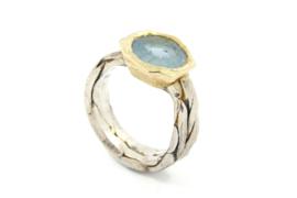 Hans van der Leen - Ring zilver en goud met blauw aquamarijn - 11339