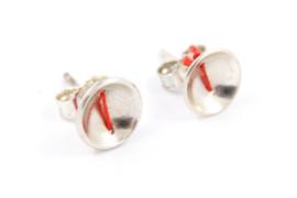 Klenicki Jewelry - Oorknopjes zilver met rood detail - 11153