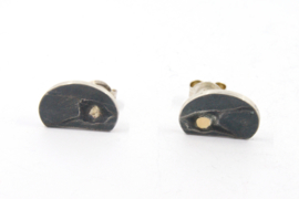 Hans van der Leen - Zilver met gouden stop oorstekers - 10688HLO020