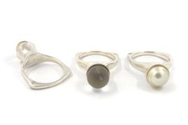 Hans van der Leen - Ring zilver met parel of kwarts  - 10945