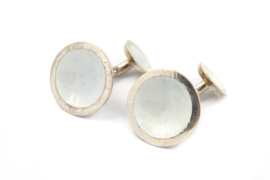 Anna - Manchetknopen zilver met wit emaille - 11141