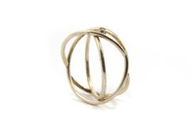 Dorien de Jonge - Zilveren 3 banden ring met diamant - 2R06