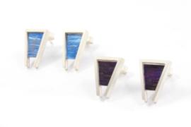 Evelien Scharphorn - Zilveren oorknoppen met gekleurd titanium - ES4035