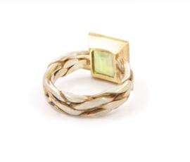 Hans van der Leen - Ring zilver en goud met groene phreniet - HLR3011
