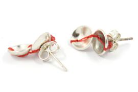 Klenicki Jewelry - Oorknopjes zilver dubbel met rood detail - 11154