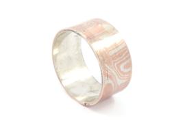 Galerie Puur - Ring zilver gemixt met koper patroon - 11021
