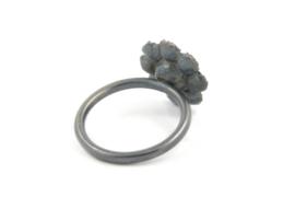 Hester Zagt - Gezwart zilveren ring met bloem - 11197