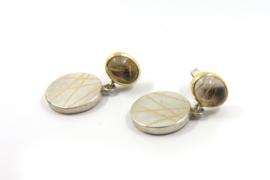 Myjung Kim - Zilveren oorstekers met gouden accenten - 9952