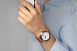 Fuji Horloge - wit met bruine band