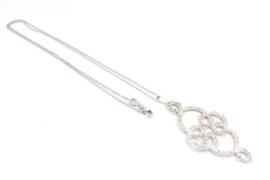 Femke Toele - Gehaakt zilveren collier met grote hanger - 11418