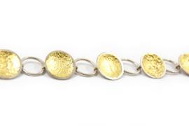 Lesley Zijlstra - Geschakelde armband zilver met bladgoud - 10371