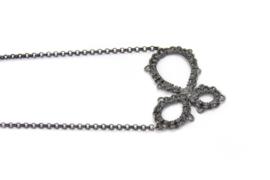 Femke Toele - Gehaakt zwart zilveren collier groot - 11416