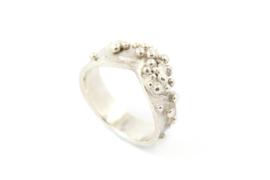 Nena Origins - Granulatie ring zilver breed - 11296