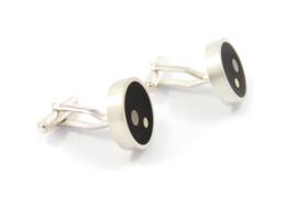 Evelien Scharphorn - Ebbenhouten manchetknopen met zilver en goud - ES5004