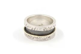 Myrthe Cools - Klingelring zilver met geelgoud - 9537