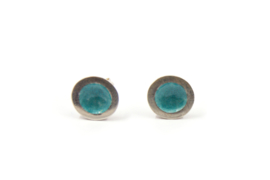 Anna - Oorknopjes zilver met turquoise emaille - 11137