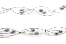Maria van der Mel -  Rhemanium collier met zoetwater parels - 10620