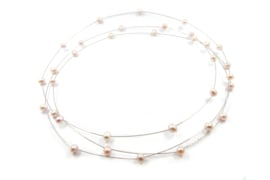 Maria van der Mel - Collier gewikkeld zilver met roze zoetwater parels - 10998