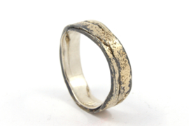 Hans van der Leen - Ring gezwart zilver met strooi goud - 10703.HLR23a