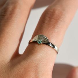 Sunrise ring wit goud toermalijn 12185