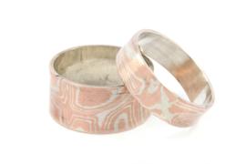 Galerie Puur - Ring zilver gemixt met koper patroon smal -