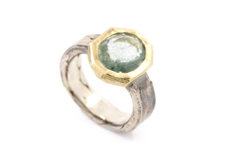 Hans van der Leen - Ring zilver en goud met groene beryl - 11340