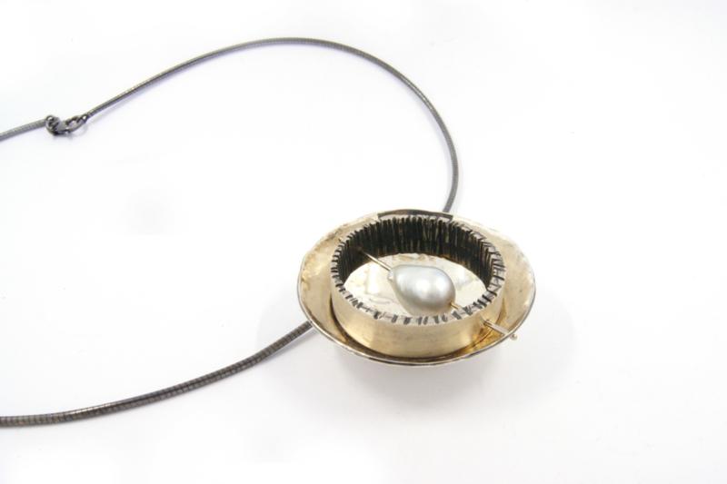 Hans van der Leen - Zilver met gouden draad en Zuidzee parel - 10686 HLH3