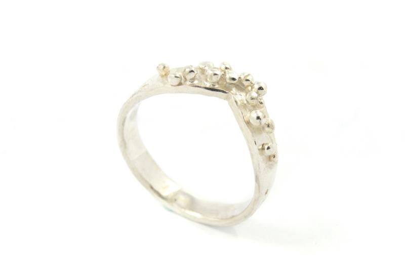 Nena Origins - Granulatie ring zilver smal - 11295