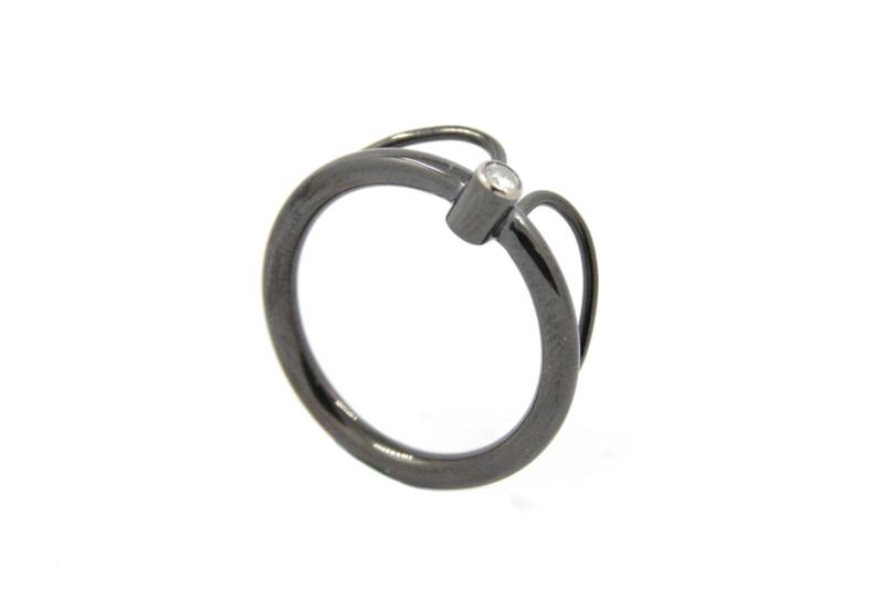 AW Edelsmeden - Ring zirkonium zwart - AWR -16