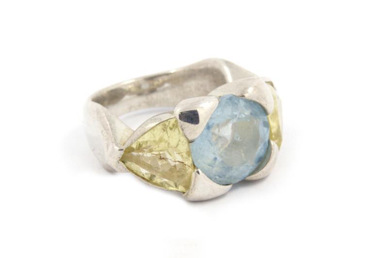 Hans van der Leen - Ring zilver met aquamarijn en gele beryl - 10698.HLR20