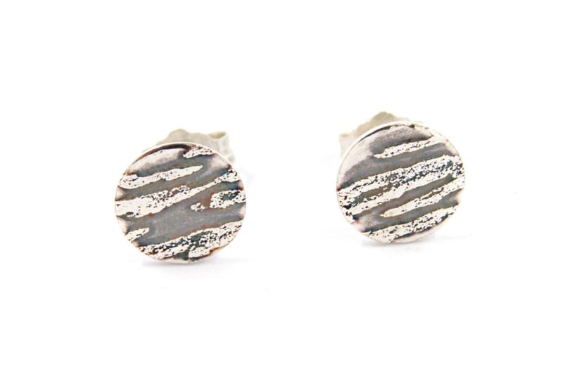 Lesley Zijlstra - Oorstekers zilver tijgerstrepen - 11324