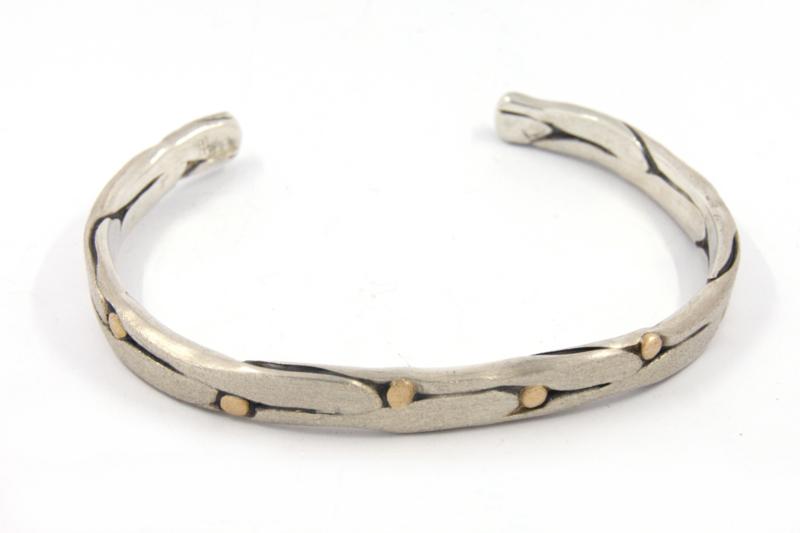 Hans van der Leen - Armband zilver met gouden details - 10690HLA011b