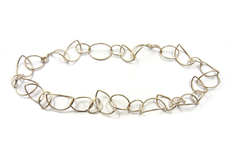 Dorien de Jonge - Zilver bladvormig schakel collier - 2K02