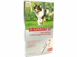 Vlooienmiddel hond Adventix  250/1250 (4 pipetten voor honden van 10 kg- 25 kg ) voor op de huid tegen vlooien en teken