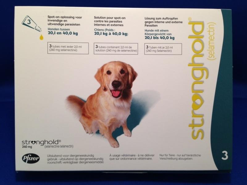 Stronghold Groen 20,1 - 40 kg | 3 pipetten | ontwormen en ontvlooien tegelijk  Dit product mag alleen verkocht worden met een recept van de dierenarts