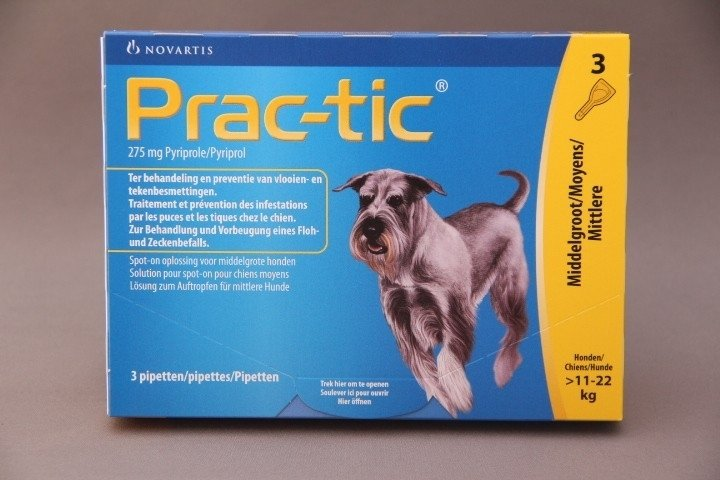 Vlooienmiddel hond Prac-tic : preventief tegen vlooien en teken.       ( 3 pipetten voor honden van 11-22 kg)