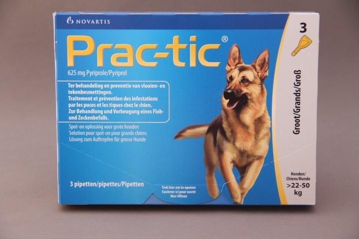 Vlooienmiddel hond Prac-tic : preventief voor vlooien en teken. ( 6 pipetten voor honden van 22-50 kg)