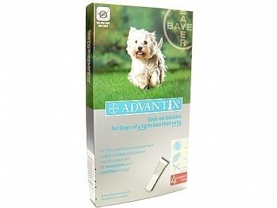 Vlooienmiddel hond Adventix 100/500 ( 4 pipetten voor honden van 4 kg- 10 kg ) voor op de huid tegen vlooien en teken